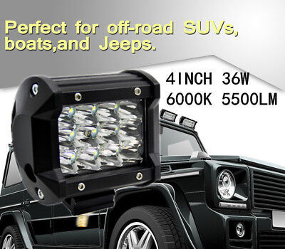 4'' 36W 5500LM Cree Led Work Lights Bar Pods Spot Offroad Lamp For ATV JEEP UTE