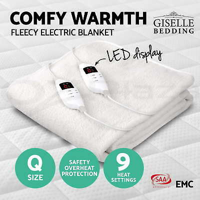 Giselle Bedding Fleecy Electric Blanket Heated Fully Fitted Washable Queen Bed