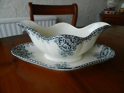 Vintage R. & A. Fontenoy Salins Gravy Boat With Fixed Under Plate