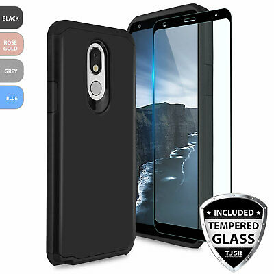 For LG Stylo 4 Shockproof Rubber Slim Phone Case Cover+Black Tempered Glass