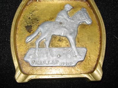 Phar Lap. Unusual And Rare Ashtray. Cast Brass And Pewter