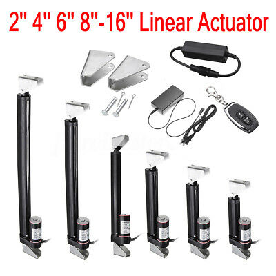 "2""-16"" Inch Black Linear Actuator Stroke 225 Pound Max Lift Output 12V Volt DC"
