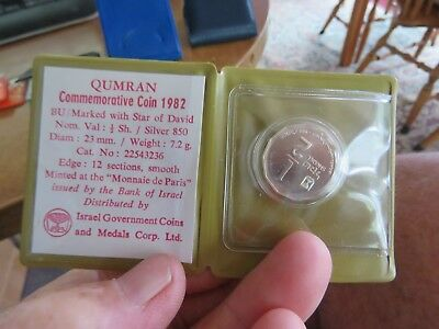Israel 1982 1/2 Sheqel Uncirculated Silver Coin Holyland Sites Qumran
