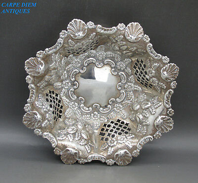 ANTIQUE VICTORIAN ORNATELY EMBOSSED SWEETMEATS BOWL, MBros, 99g BIRMINGHAM 1897
