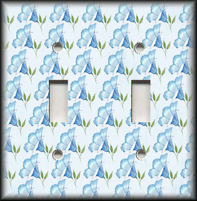 Metal Light Switch Plate Cover Blue Bell Flowers Home Decor Floral Design Blue