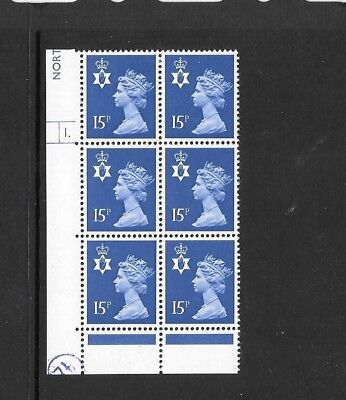 N Ireland - 15p  - cylinder block of 6 - cyl 1 DOT - unmounted mint