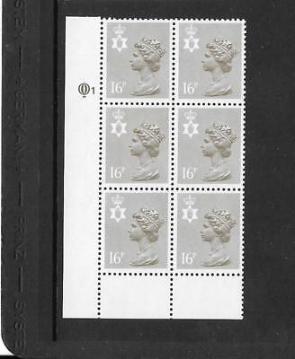 N Ireland - 16p  - cylinder block of 6 - cyl Q1   - unmounted mint