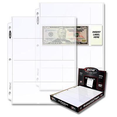 10 loose BCW 4 Pocket Album Pages Currency Storage Protection Holders Sheets