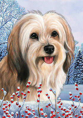 Large Indoor/Outdoor Winter Flag - Fawn Tibetan Terrier 15479