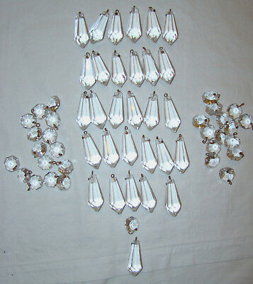 """61 Pieces Vintage Used Chandelier Crystal Prisms 30 1 1/2"""" - 31 9/16"""" round"""