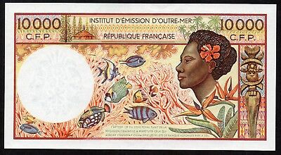 French Pacific Territories - 10000 francs  1985, P 4a, W/0 sec. thread UNC