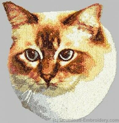 Embroidered Short-Sleeved T-Shirt - Birman Cat DLE2648 Sizes S - XXL