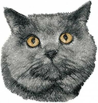 Embroidered Short-Sleeved T-Shirt - British Shorthair Cat AED16247 Sizes S - XXL