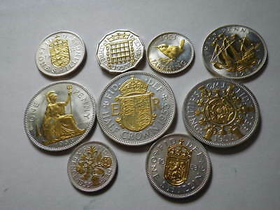 Great Britain 1953 Silver Plated With Gold Highlights Set x 9 Coins  ........443