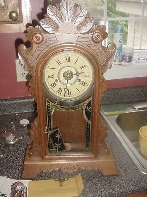 New Haven Gingerbread 8  Day Time and Strike Original Glass Beautiful Clock