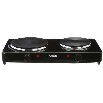 Aroma Cast Iron Compact Portable Double Burner Electric 1440W Hot Plate, Black
