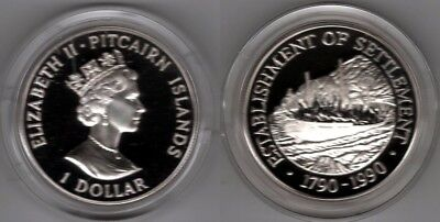 PITCAIRN ISLANDS   1 Dollar 1990   Segelschiff   Silber/PP