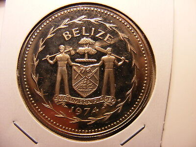 Belize 1974 C/N Proof 5 Dollar coin, KM#44, Tone present, Keel-Billed Toucan