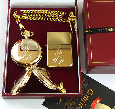 24K GOLD Clad MIKE TYSON Engraved Signed POCKET WATCH & LIGHTER Luxury Gift Case