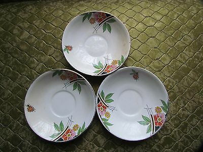 3 Saucers By Rosina China-Art Deco Style Design