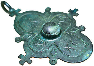 Large Byzantine Bronze Cross Pendant with Stone