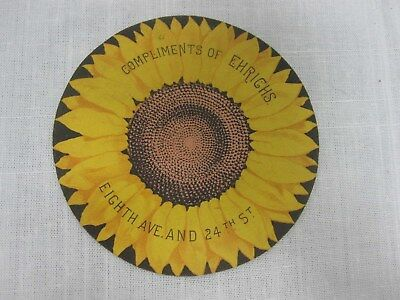 Antique 1857 Ehrich's Brothers Drygoods Store Grand Opening Sunflower Trade Card