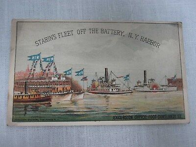 Antique Starin's Fleet Battery Ny Harbor Coney Island Boat Time Table Trade Card