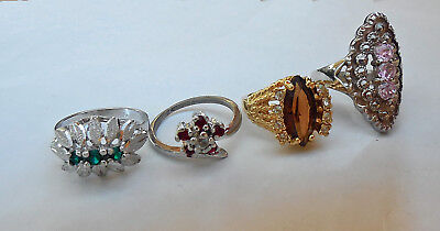 Stunning 4 Designer RINGS Sterling Silver Gold Multi Stones ELEGANT Jewelry LOT