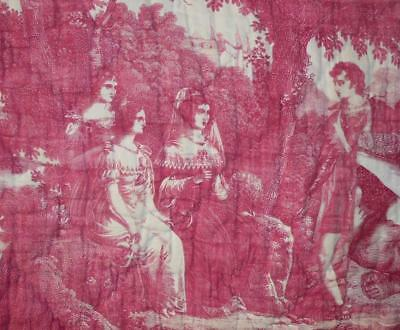 BEAUTIFUL EARLY 19th CENTURY FRENCH TOILE DE JOUY BY CHOLET, C1810-20