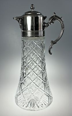 Godinger Silver and Crystal Glass Tall Pitcher Italy 2 Quart