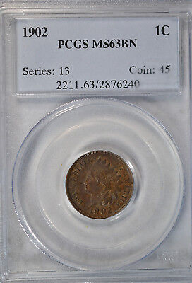 1902 Indian cent, PCGS MS63 BN