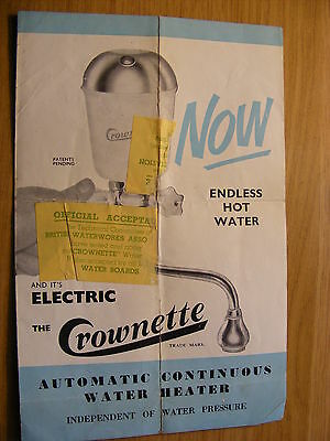 The Crownetter Water Heater instruction book  - good condition must be from 50's
