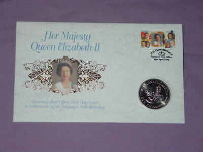1996 QEII 70th BIRTHDAY GUERNSEY £5 CROWN COIN COVER