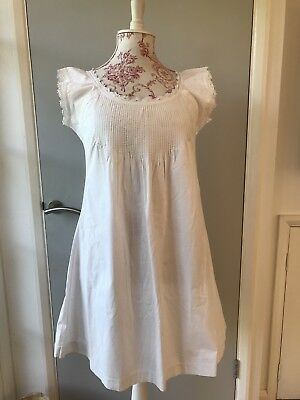 Antique Vintage French Smock Dress Tunic nightie Embroidered monogram MB pintuck