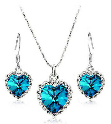 Crystal Dark Ink Blue Silver Jewellery Set of Drop Earrings Necklace S791