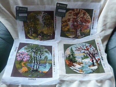 4 printed canvases , seasons , 2 part worked, no wool