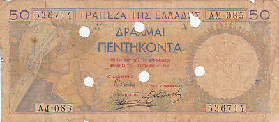 50 Drachmai Poor Banknote From  Greece 1935!pick-104