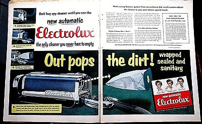 1954 ELECTROLUX Vacuum 2-page ad new automatic emptier Print ad
