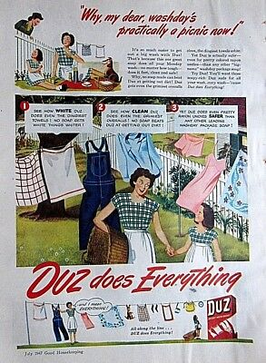 1947 DUZ Laundry Soap Mid-Century PRINT AD  Housewife Homemaker 8.5 x 11 inches