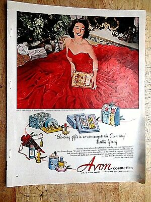 1952 Avon: Choosing Gifts, Loretta Young Vintage Print Ad