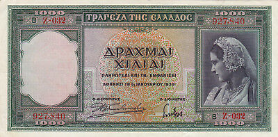 1000 Drachmai Extra Fine Crispy Banknote From Greece 1939!pick-110!!