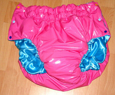 Knöpfer Windelhose Satin+Soft Lack Pvc Diaper Weichfolie  Adult *rubber-Pant*xl