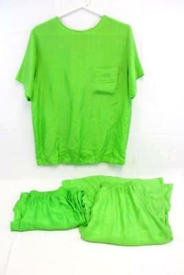 Women's VTG Green Silk 3 Piece Outfit Top Pants Skirt Small by Chance Encounter