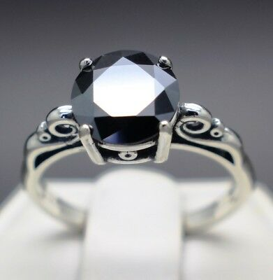 1.27cts 7.26mm Real Natural Black Diamond Ring Certified AAA Grade & $835 Value