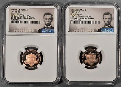 (2) 2018-S Lincoln Cents, Early & First Releases, Ngc Pf70 Rd Ultra Cameo, Ne544