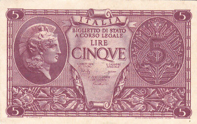5 Lire Extra Fine Banknote From  Italy 1944!pick-31