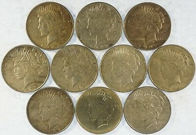 Lot of (10) Collectible Peace Dollars (b400.123)