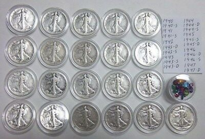 Walking Liberty 90% Silver Half Dollars 21 Diff. Dates & Mm Collection $10.50