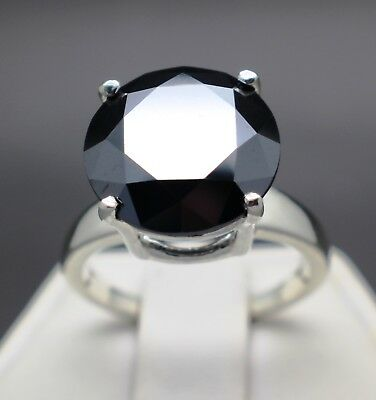 6.15cts 12.17mm Natural Black Diamond Ring, Certified, AAA Grade & $3275 Value