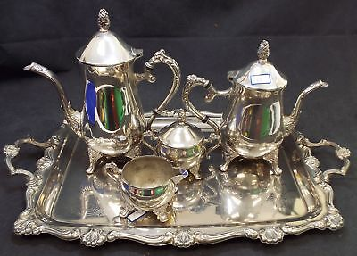 Vintage UNMARKED With No Hallmarks 5 Pieces Plated Coffee Set - B18